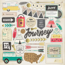 "Чипборд Journey Adhesive Chipboard 12""X12"" от   Crate Pape"