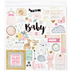 "Набор чипборда Little You GIRL Glittered Adhesive Chipboard 12""X12"" Crate Paper"