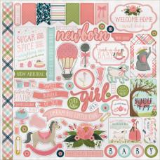 "Наклейки Rock-A-Bye Baby Girl Cardstock Stickers 12""X12"" от Carta Bella"