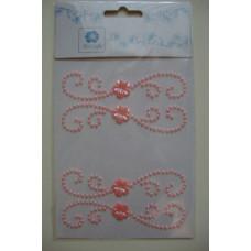 Наклейки Стразовые - Завитки с цветочком (розовые)