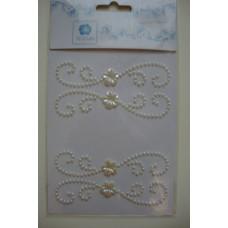 Наклейки Стразовые - Завитки с цветочком (кремовые)