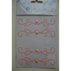 Наклейки Стразовые - Завитки с сердечком (розовые)