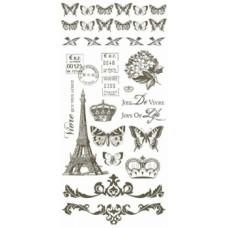 Набор переводных аппликаций rub-on на листе, серия Bonjour