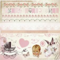 Набор бумажных самоклеющихся аппликаций Girl, серии Bundle of Joy