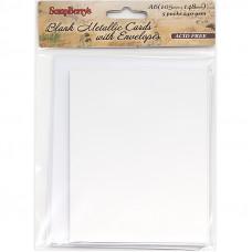 Набор заготовок для открыток с конвертами, А6 МЕТАЛЛИК БЕЛЫЙ