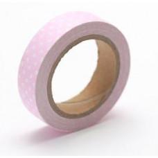 Тканевый скотч Розовый в горошек №47