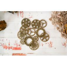 """""""Механика-Lite"""" набор декоративных шестеренок. Античная бронза"""