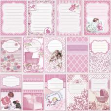"""Бумага для скрапбукинга """"Малыш и малышка"""" журналинг розовый"""