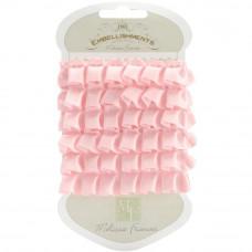 Плиссированная атласная лента розовая