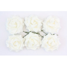 Кудрявые розы, 6 шт. 4см белые