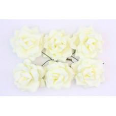 Кудрявые розы, 6 шт. 4см кремовые