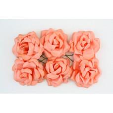 Кудрявые розы, 6 шт. 4см нежно-оранжевые