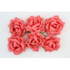 Кудрявые розы, 6 шт. 4см коралловые