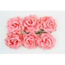 Кудрявые розы, 6 шт. 4см нежно-розовые