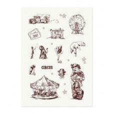 Тканевые льняные стикеры Старый цирк