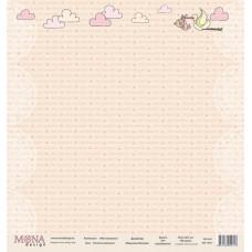 """Лист односторонней бумаги для скрапбукинга """"Нежная малышка"""" new из набора бумаги """"Моя малышка"""""""