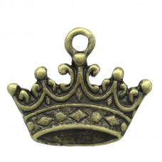 """Подвеска металлическая """"Корона"""", античная бронза, 17 х 14 мм"""