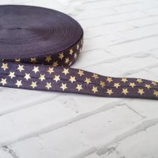 Резинка темно-синяя с золотыми звездочками 90см