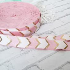 Резинка шеврон розово - белый с золотом 90см