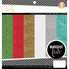Набор односторонней бумаги с глиттером - Glitter - Marquee Love от Heidi Swapp